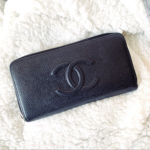 Authentic Chanel Caviar Black Long Zipped Wallet